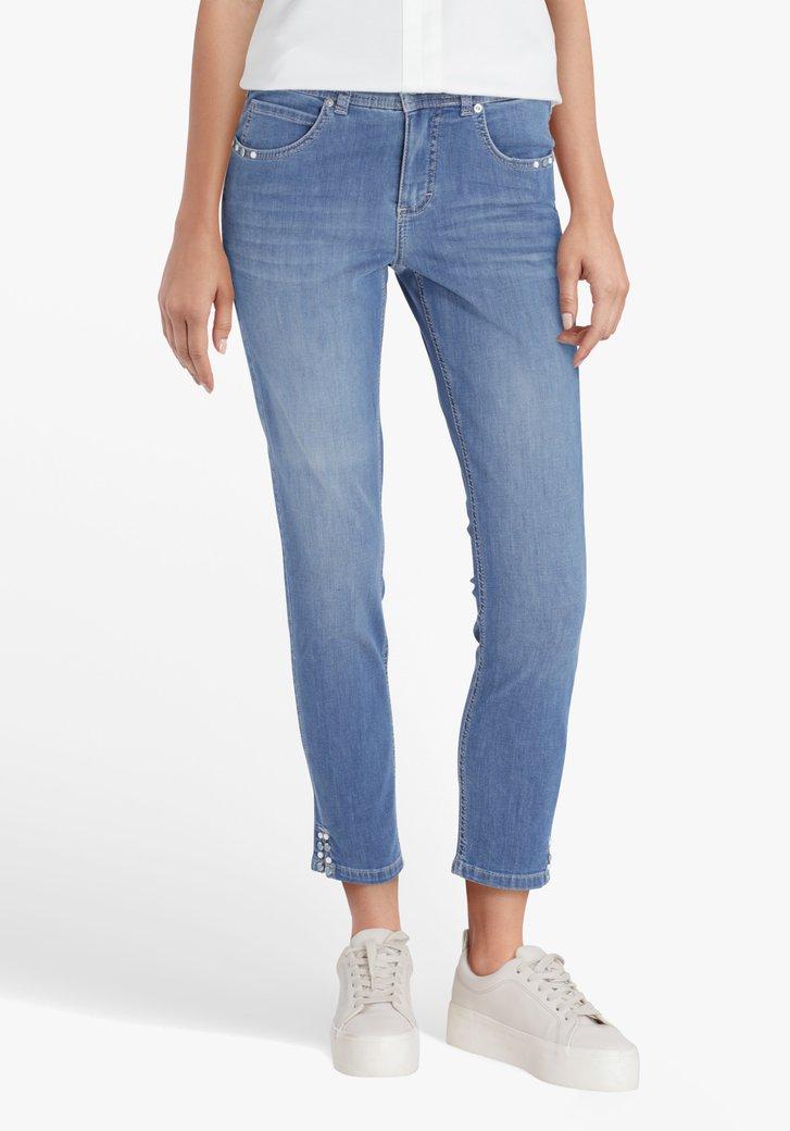 Blauwe 7/8 jeans met details  - slim fit