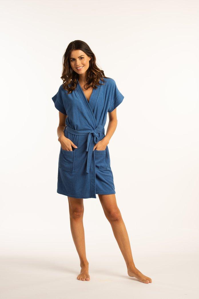 Blauwe badjas