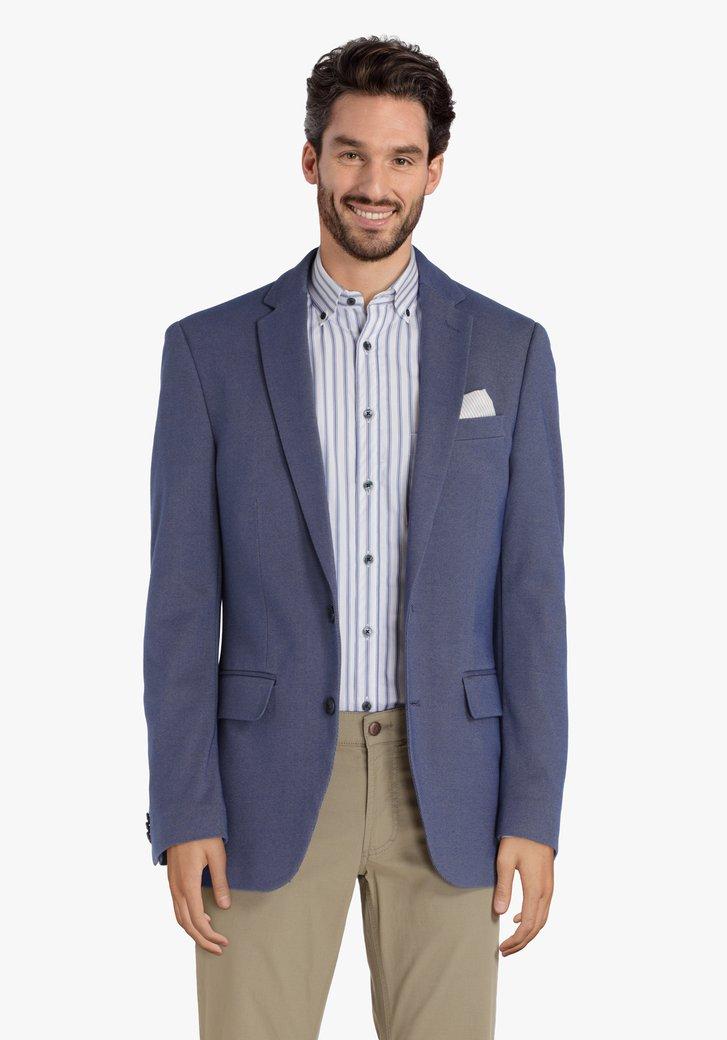 Blauwe blazer met chiné