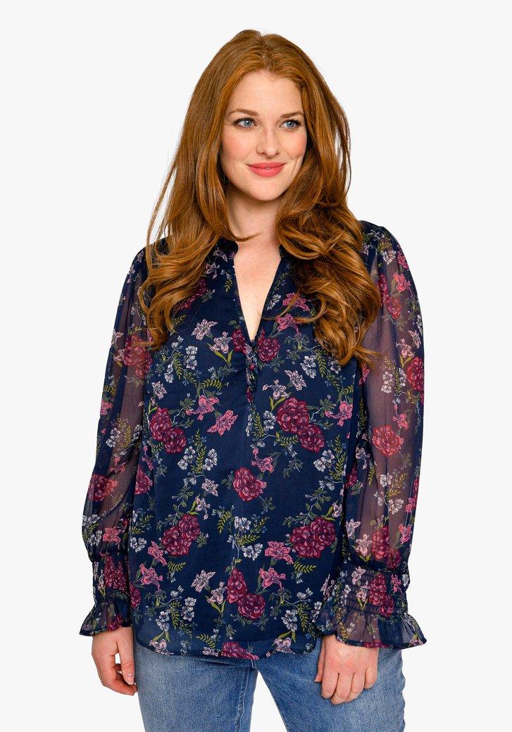 Blauwe blouse met bloemenprint