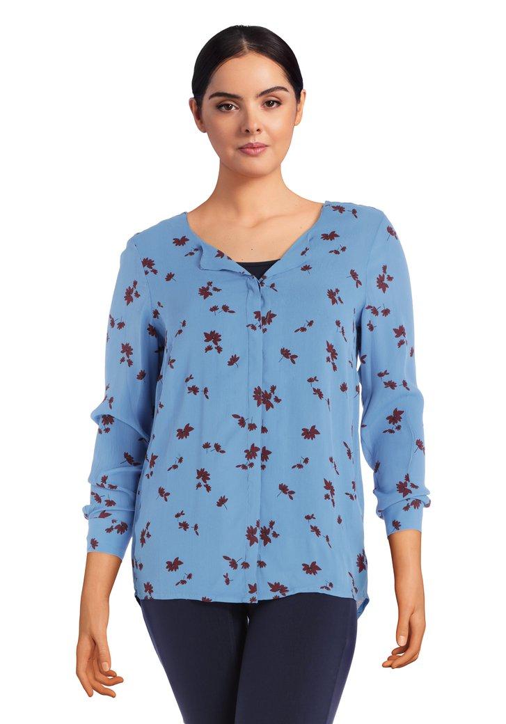 Afbeelding van Blauwe blouse met bordeaux bloemen