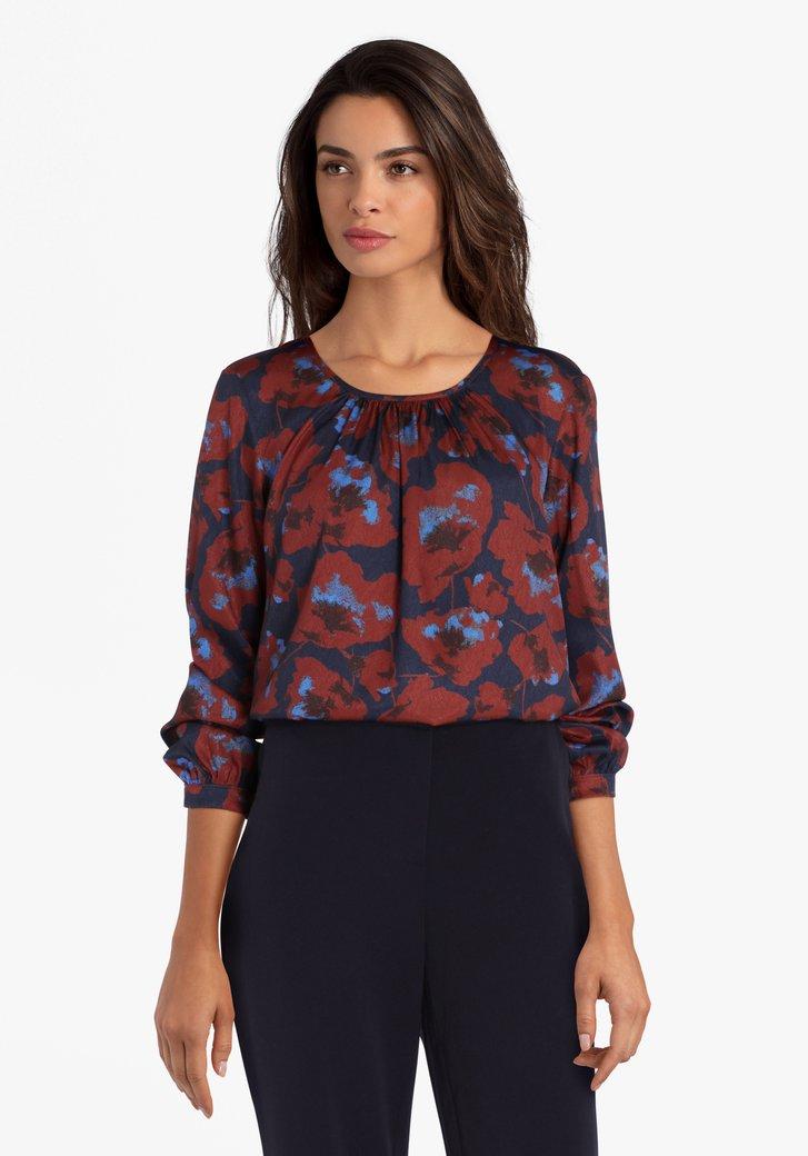 Blauwe blouse met bruine bloemenprint