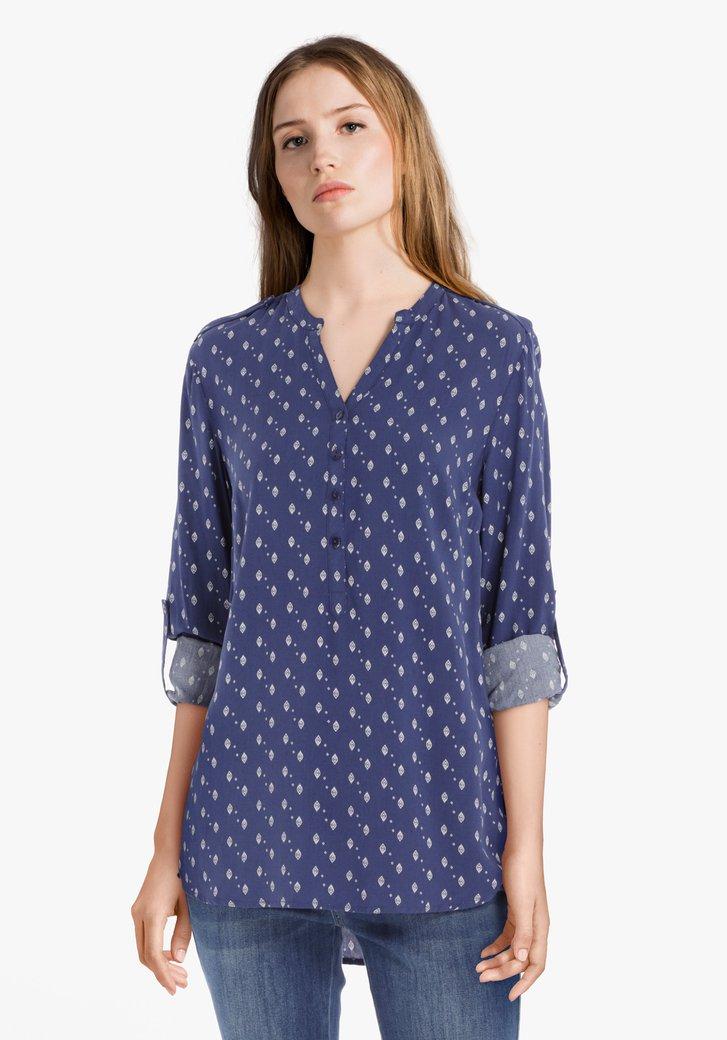 Blauwe blouse met ecru print in viscose