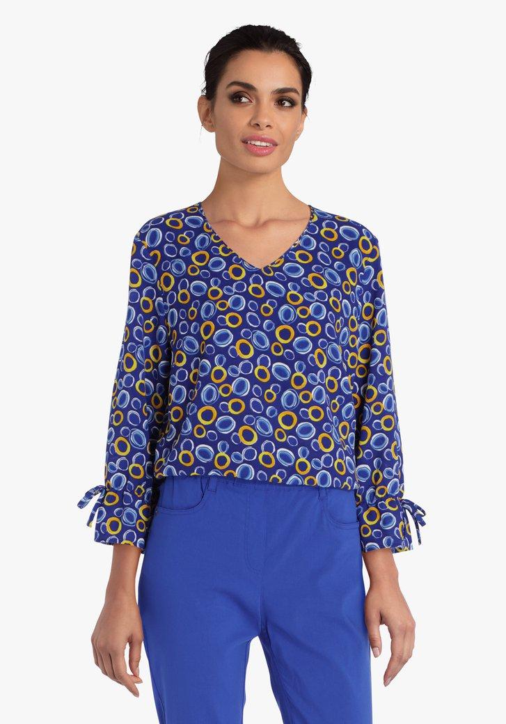Blauwe blouse met geel-blauwe print