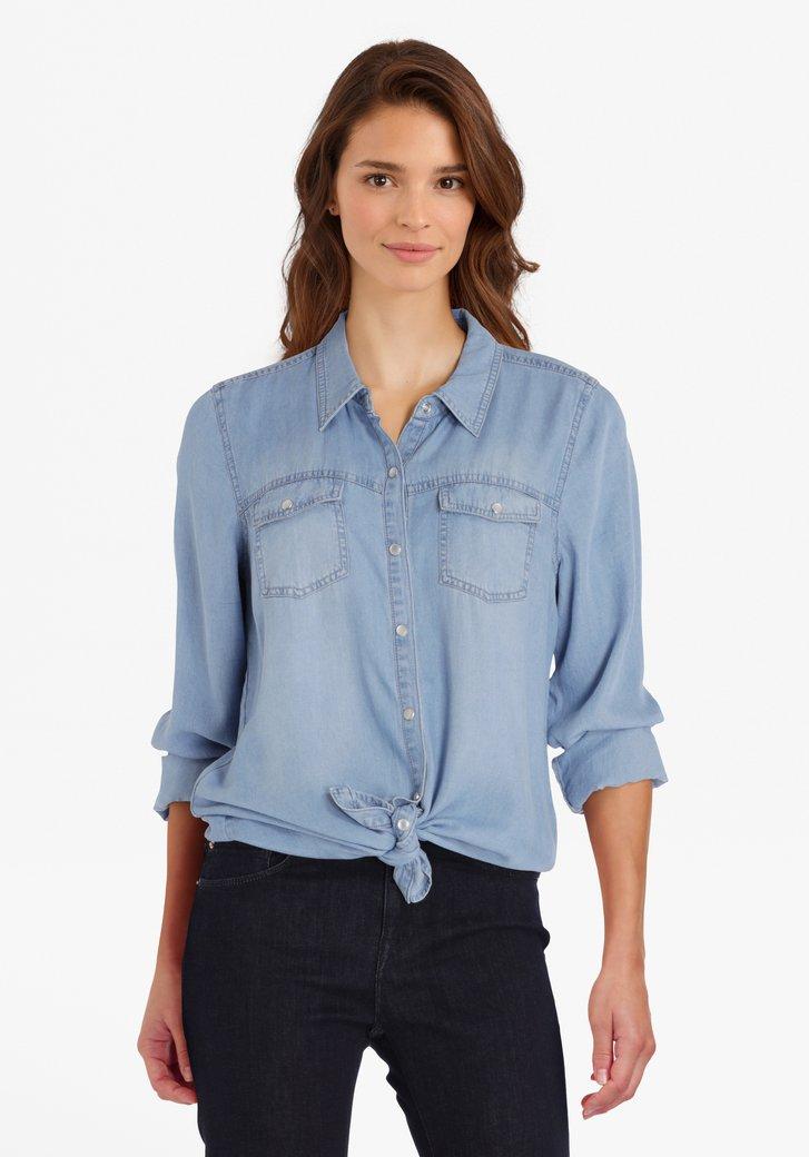 Blauwe blouse met jeanslook