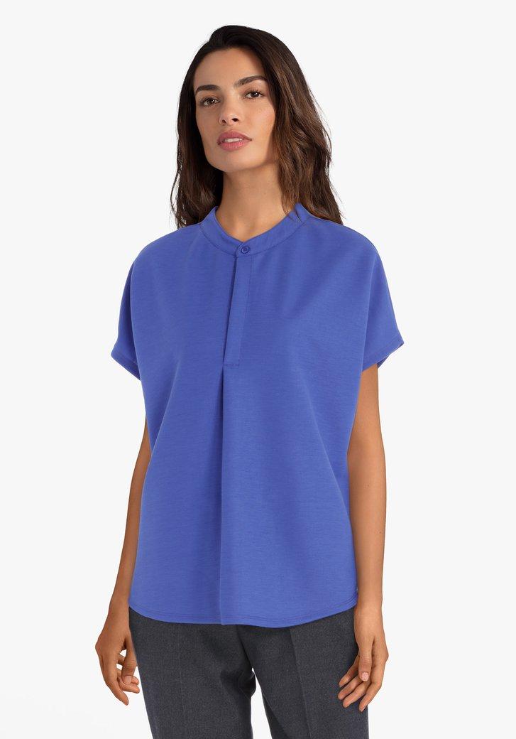 Afbeelding van Blauwe blouse met maokraag