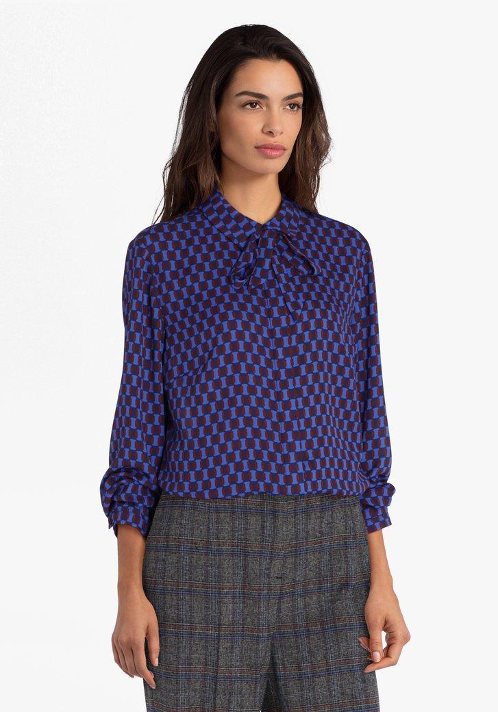 Blauwe blouse met print