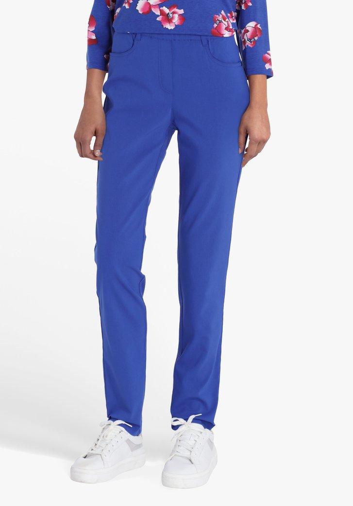 Blauwe broek met elastische taille - straight fit