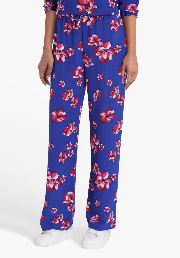 Blauwe broek met roze bloemen - straight fit