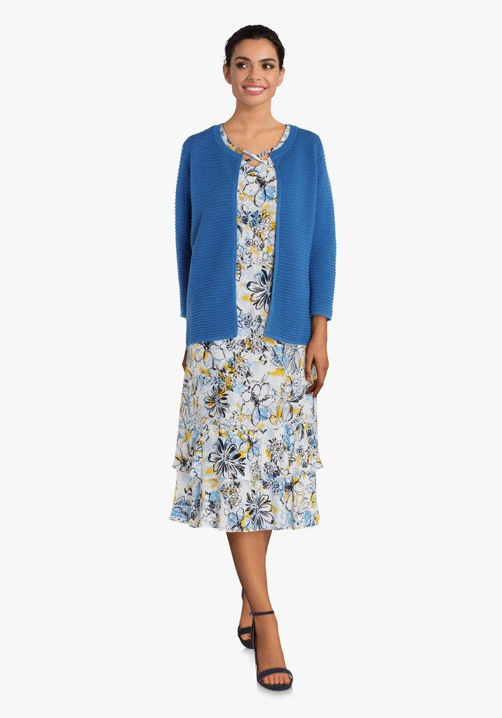 Blauwe cardigan in geribd tricot