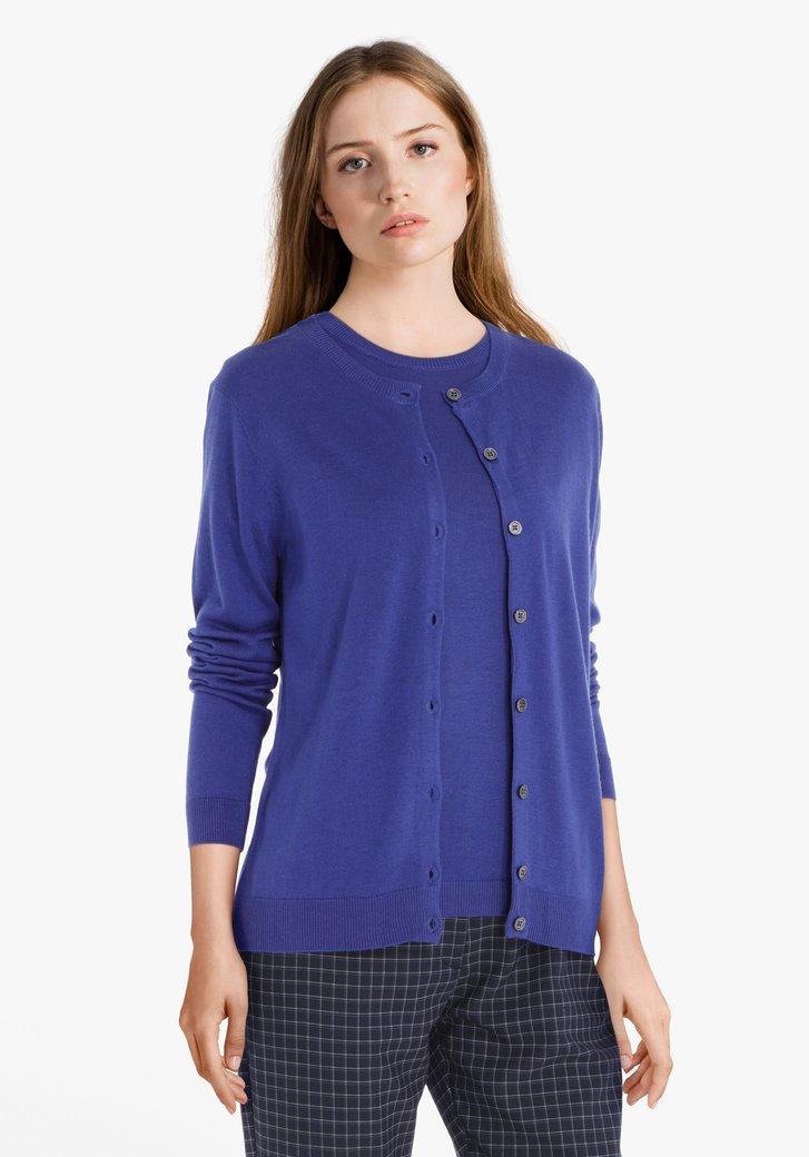Blauwe cardigan met wol en zijde