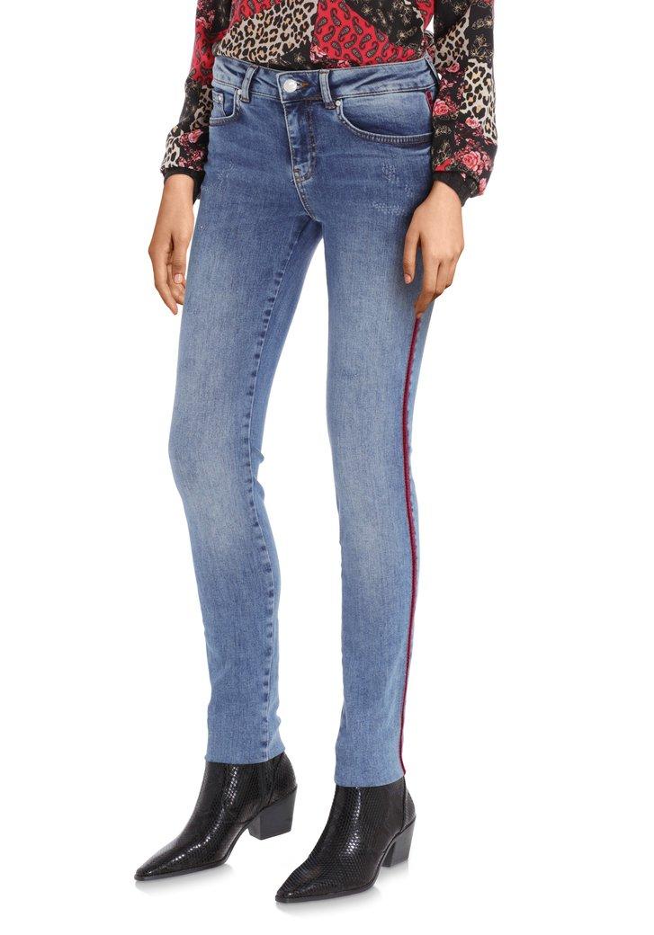 Blauwe jeans met fluwelen biesje - slim fit