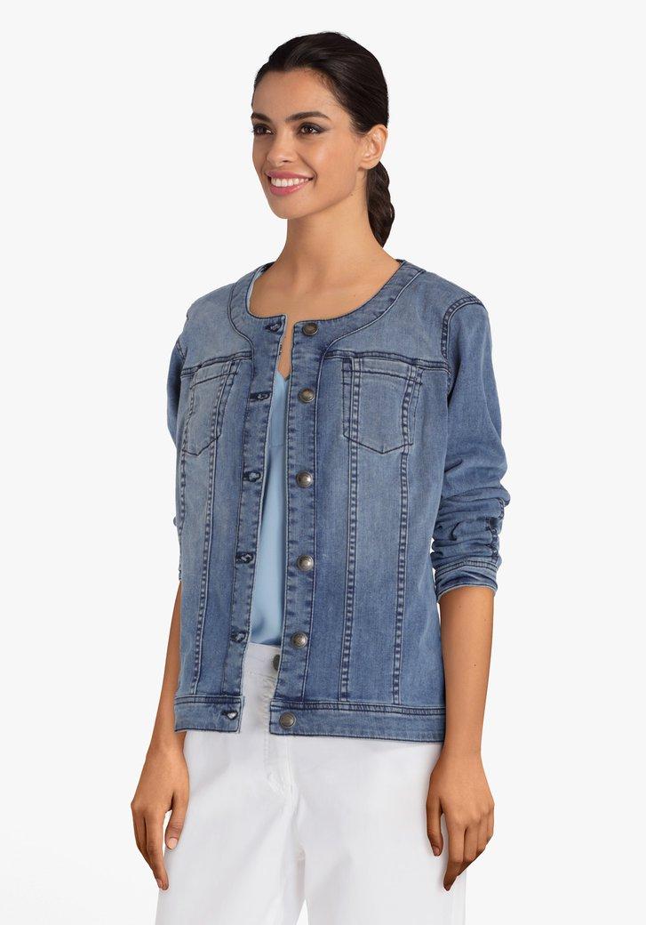 Blauwe jeansjas met ronde hals