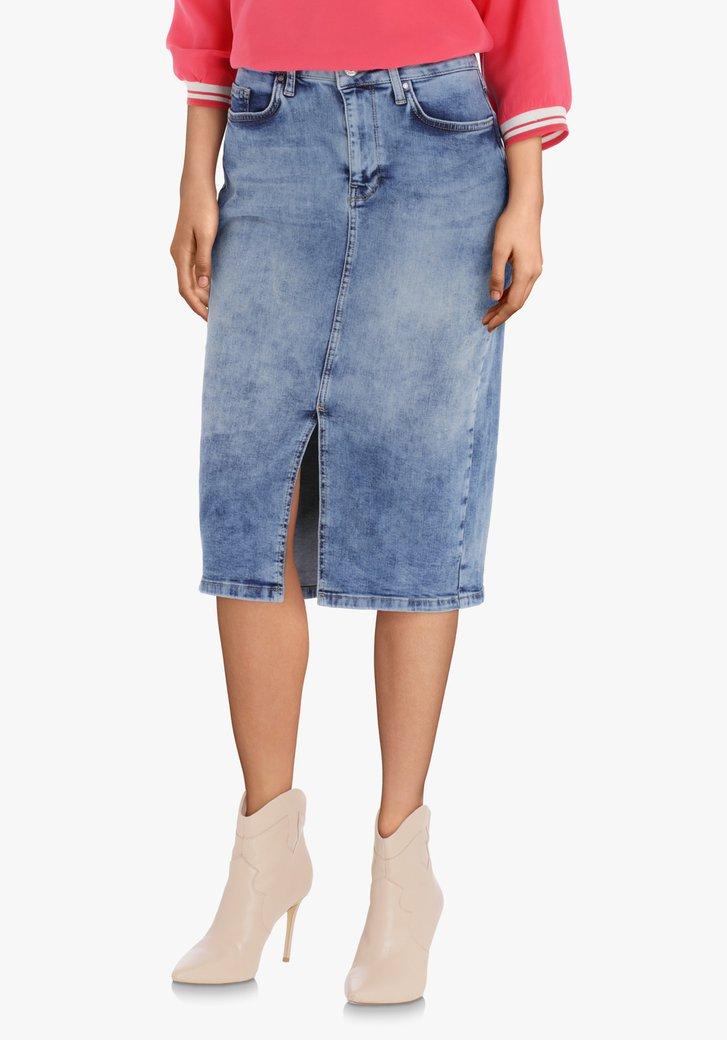 Afbeelding van Blauwe jeansrok in stretchkatoen