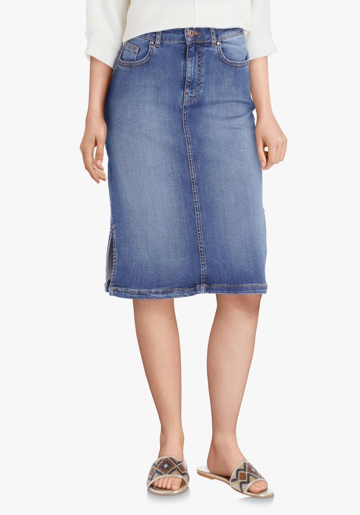 Blauwe jeansrok met stretch & split aan de zijkant