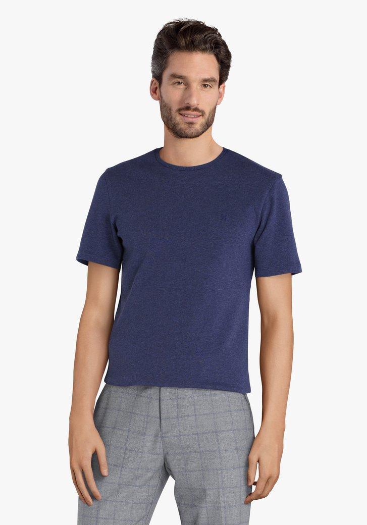Blauwe katoenen T-shirt