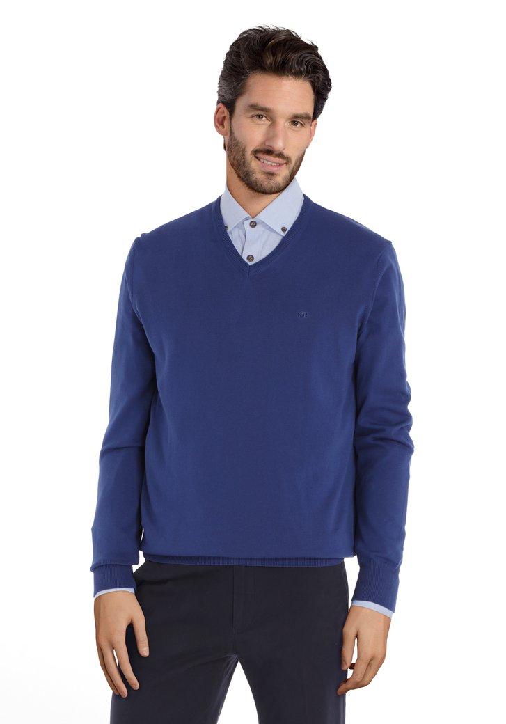Blauwe katoenen trui met geribde V-hals