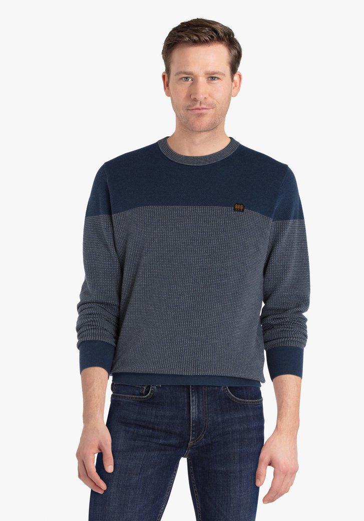Blauwe katoenen trui met licht motief