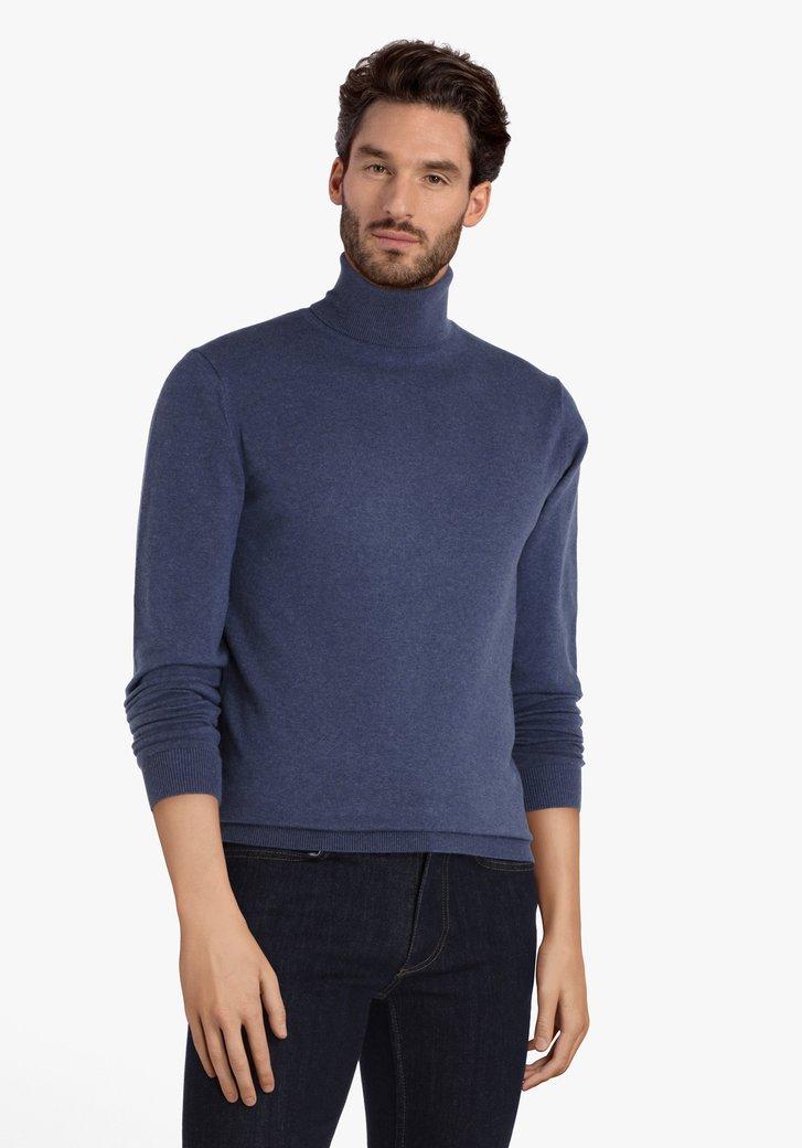Blauwe katoenen trui met rolkraag