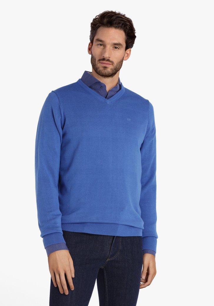 Blauwe katoenen trui met V-hals