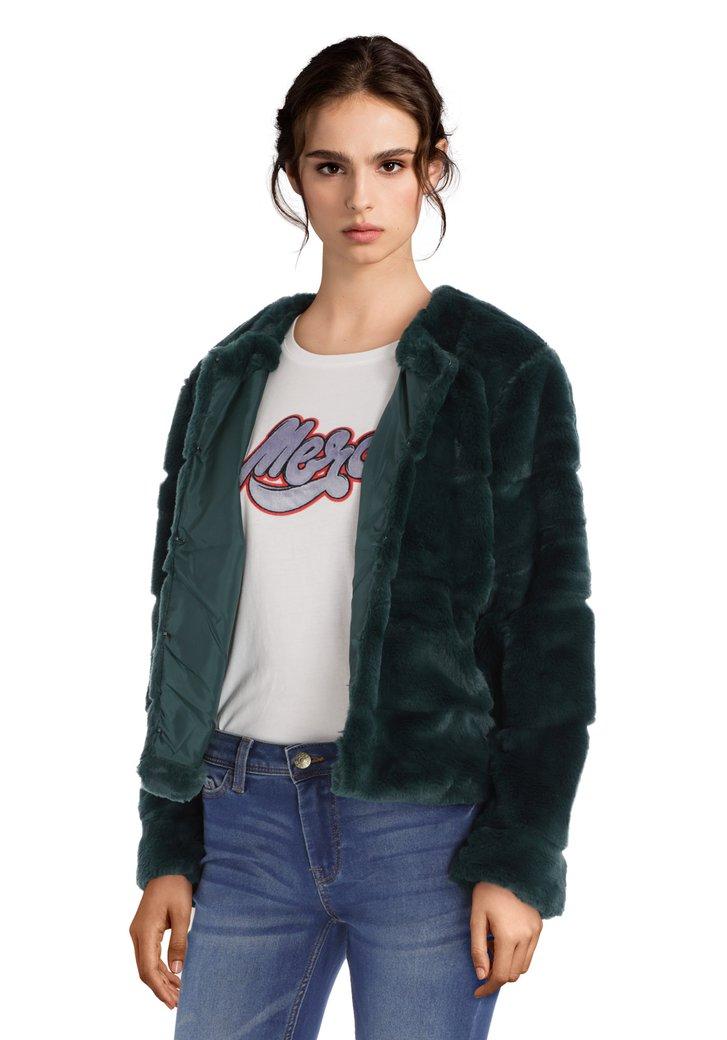 Blauwe korte jas in faux-fur