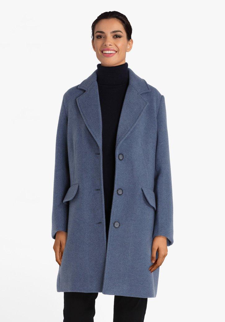 Blauwe mantel met col revers