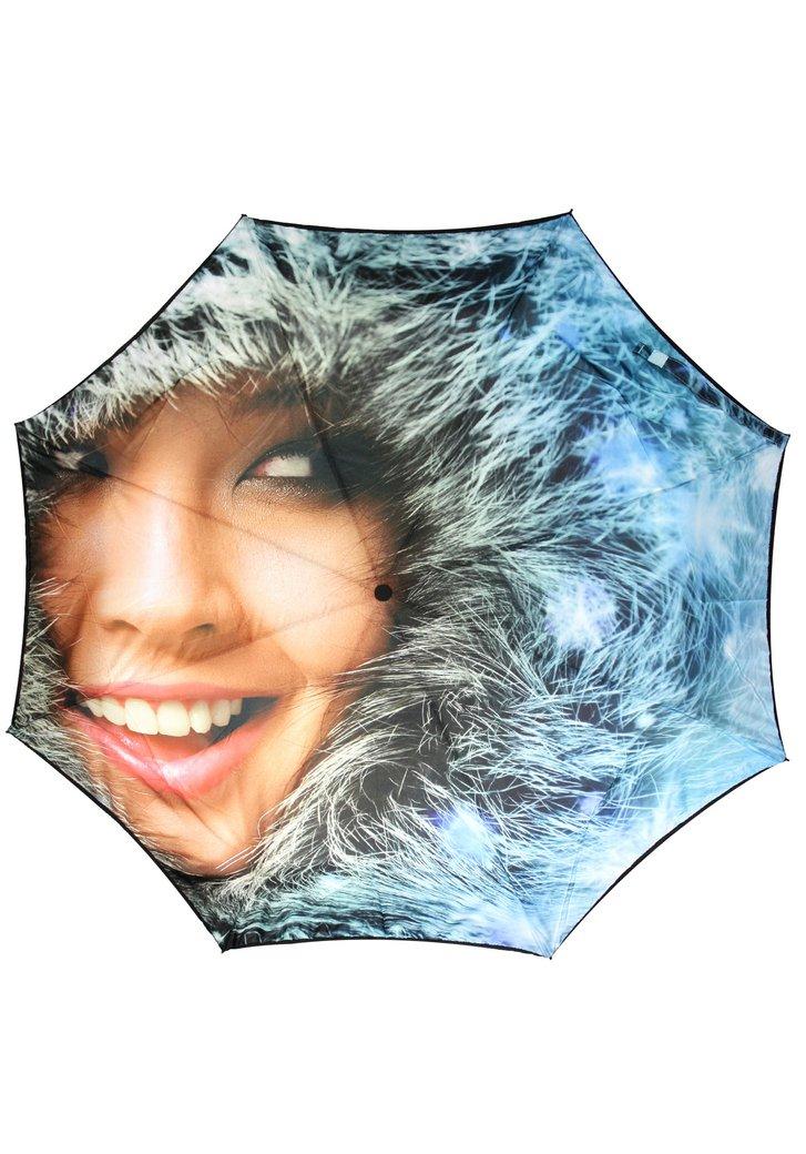 Blauwe opvouwbare paraplu