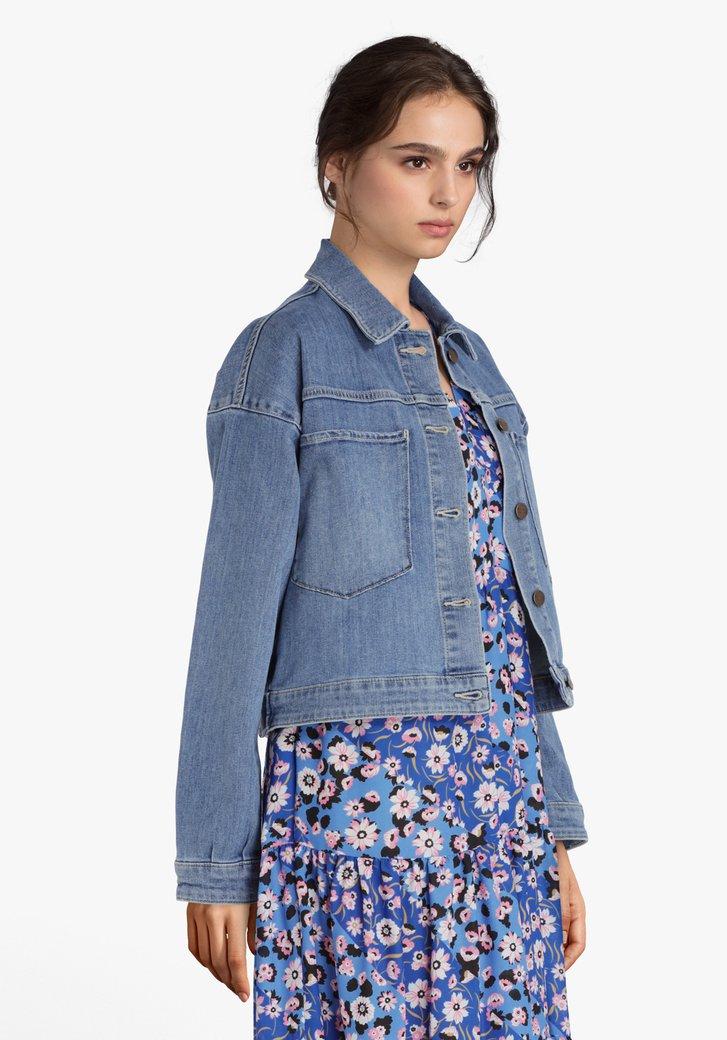 Afbeelding van Blauwe oversized jeansjas in stretchkatoen
