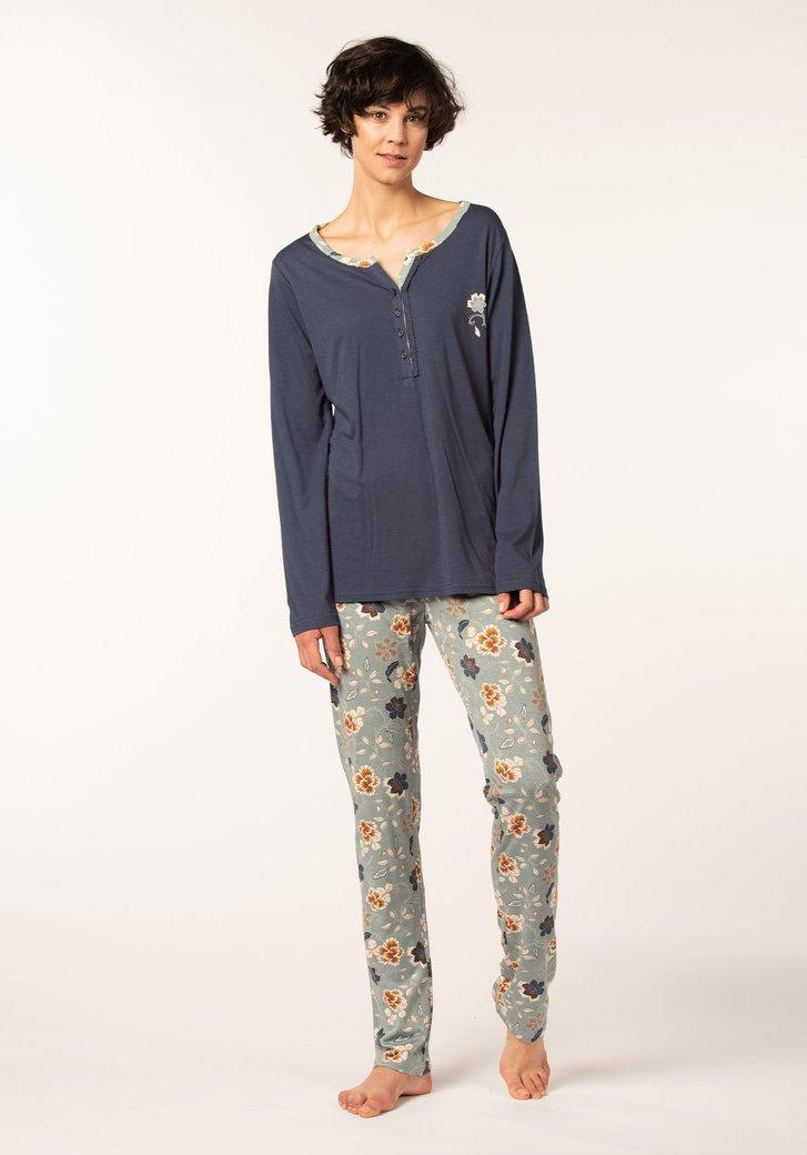 Blauwe pyjama met broek in bloemenprint