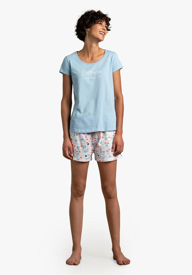 Blauwe pyjama met gekleurde short