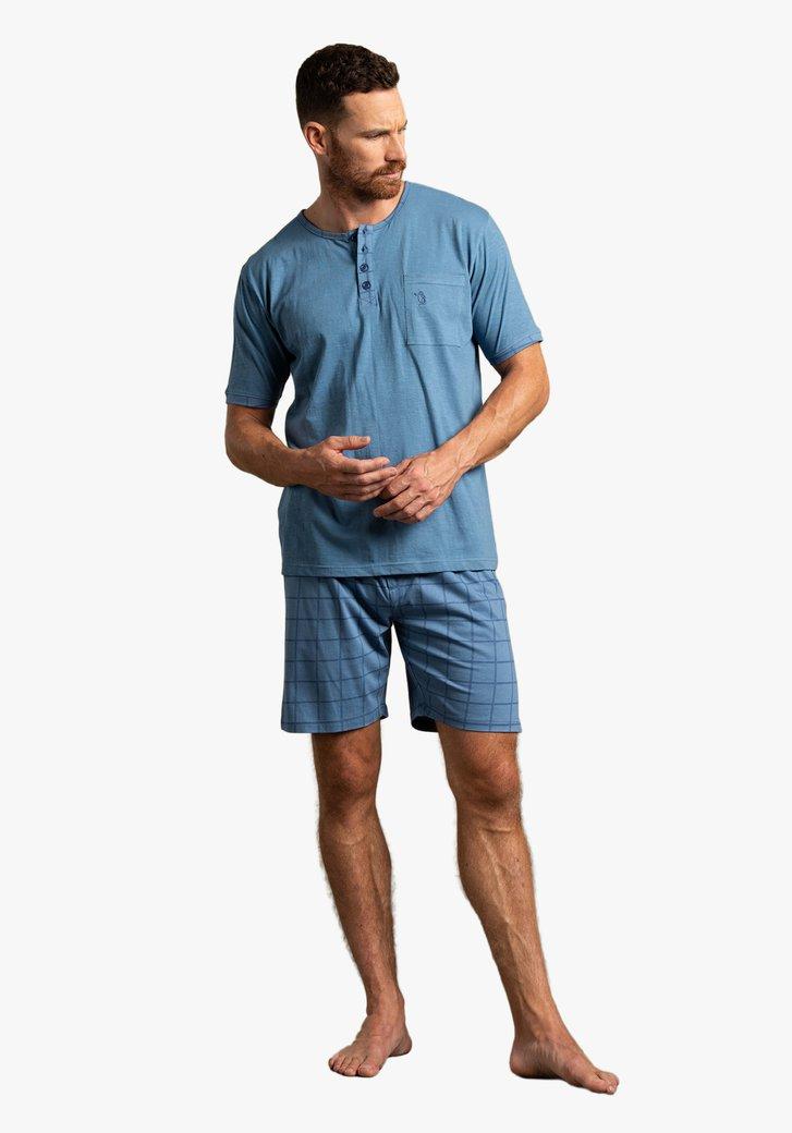 Blauwe pyjama met korte mouwen