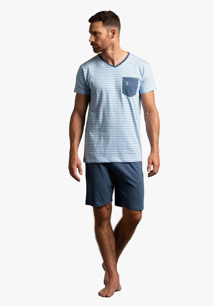 Blauwe pyjama met print en korte mouwen