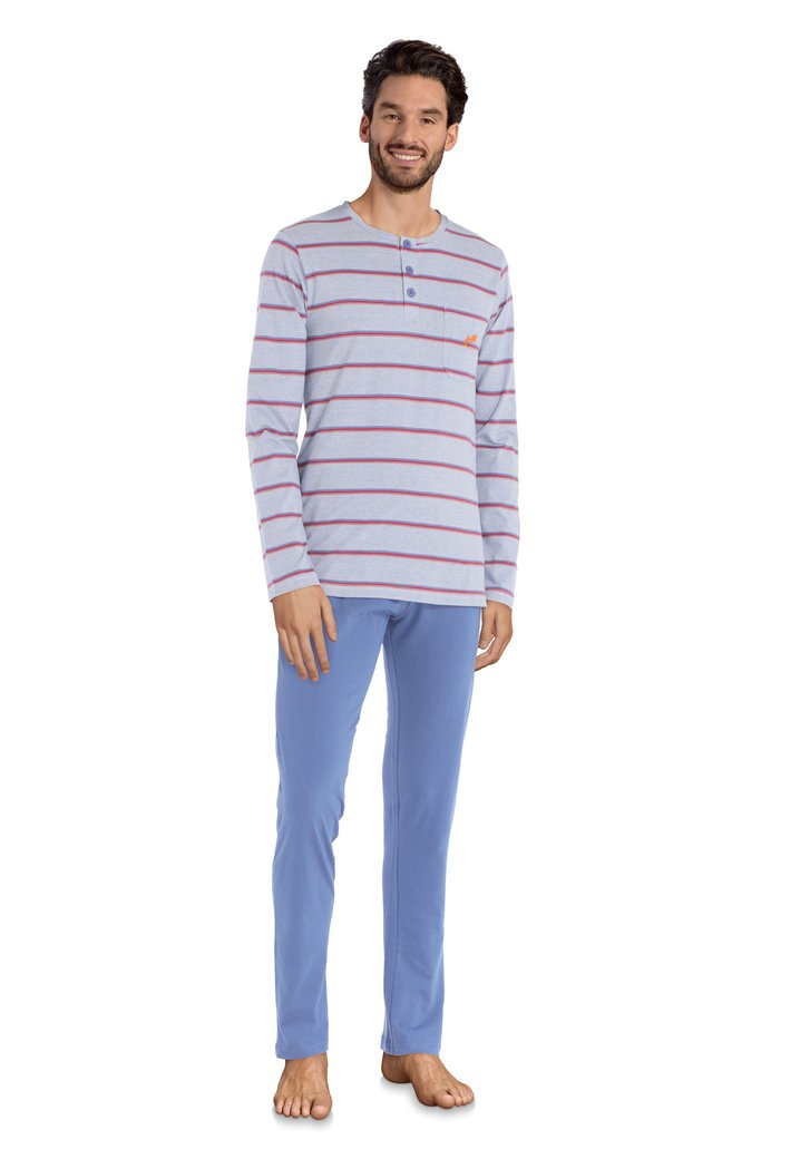 Blauwe pyjama met rode strepen
