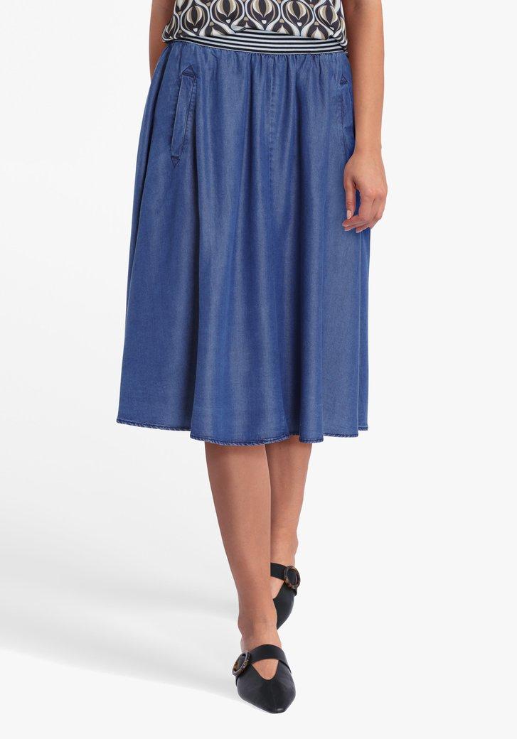 Blauwe rok met elastische taille en jeans look