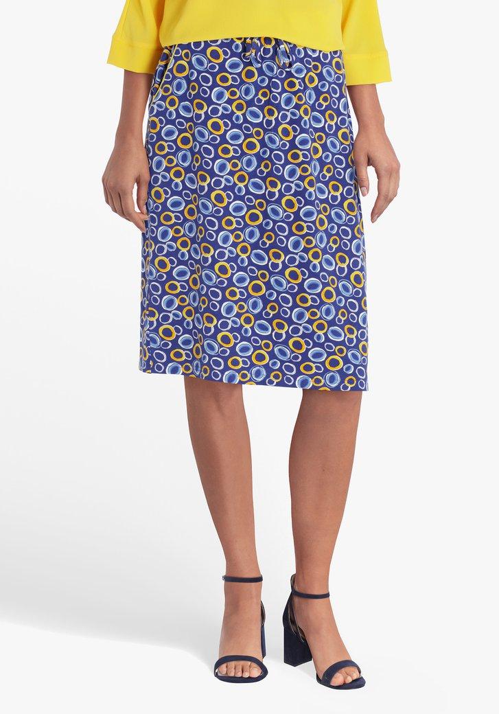 Blauwe rok met geel-blauwe print