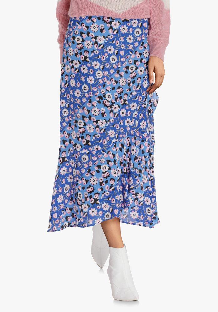 Blauwe rok met lichtroze bloemen en ruches