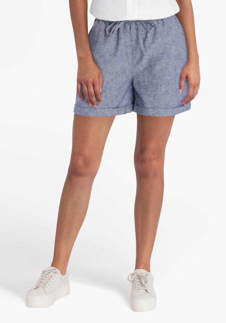 Blauwe short in katoen en linnen