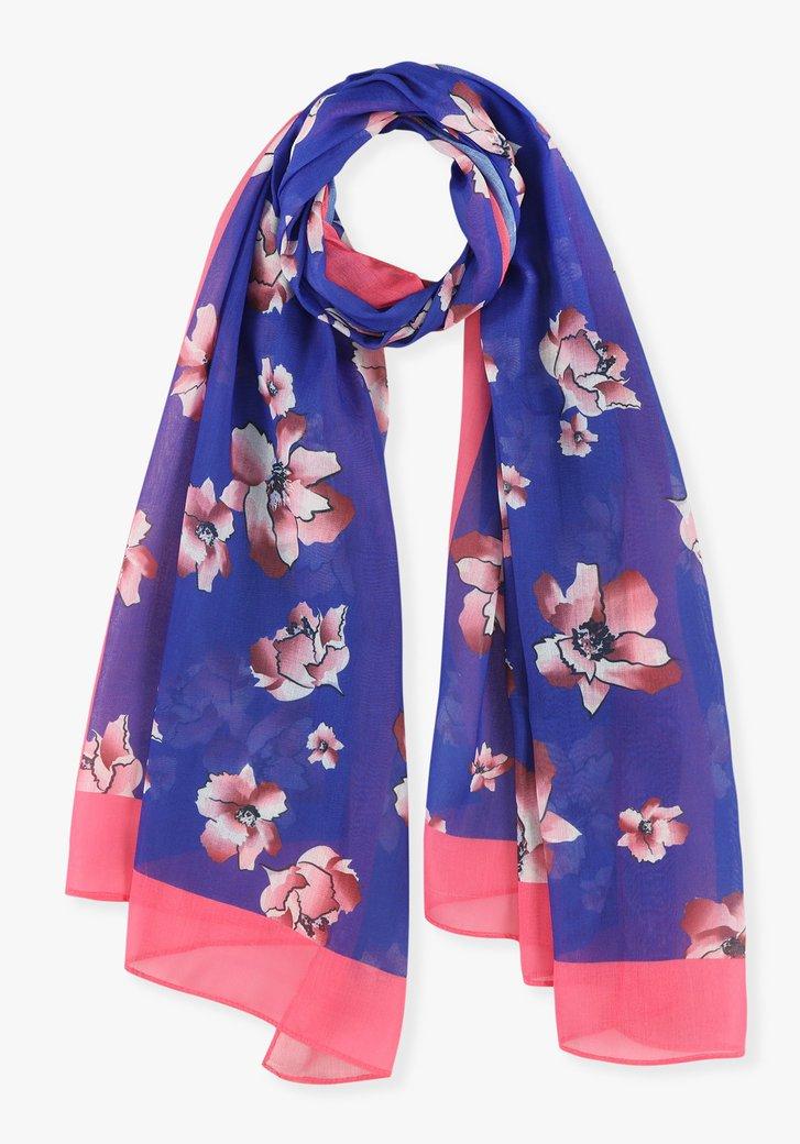 Blauwe sjaal met roze bloemen