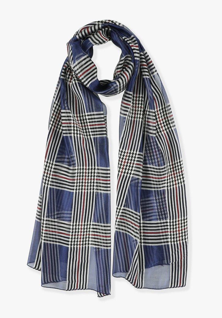 Blauwe sjaal met ruiten