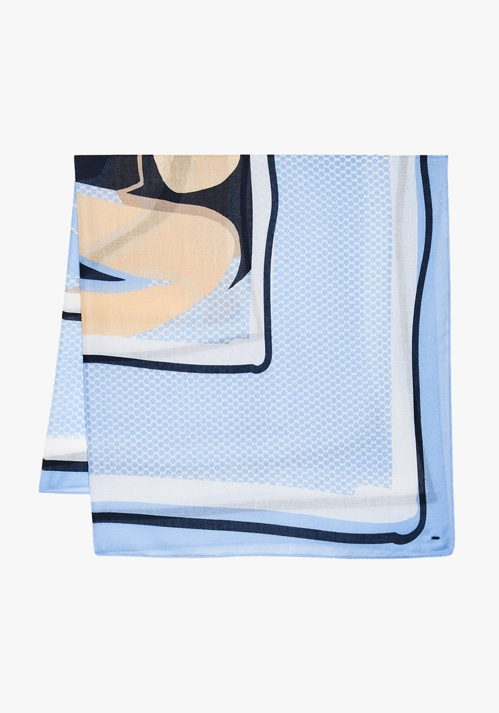 Blauwe sjaal met wit-bruine print
