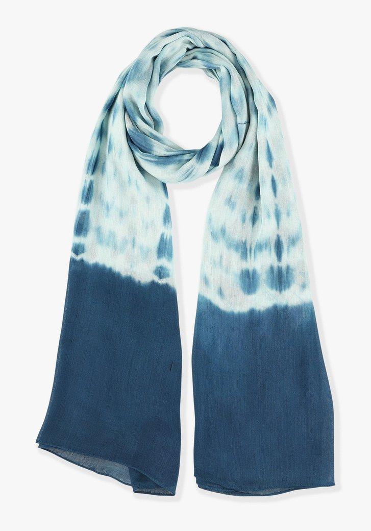 Blauwe sjaal met witte print