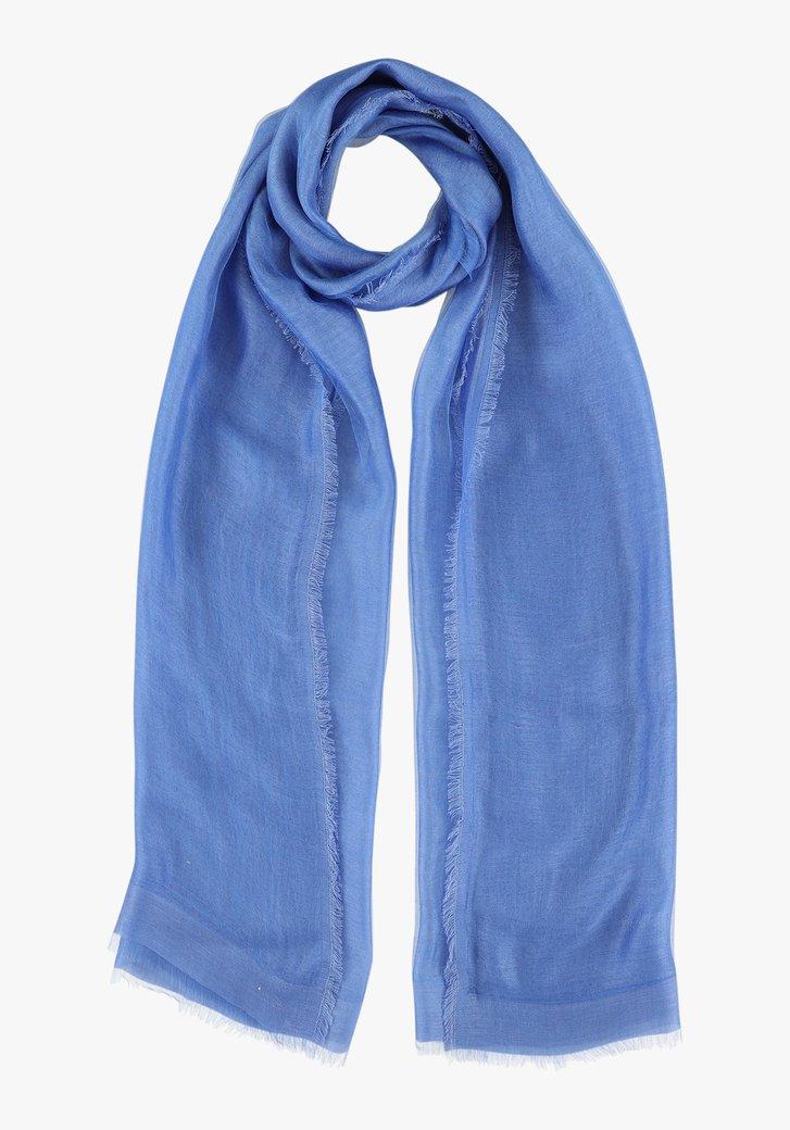Blauwe sjaal met zijde