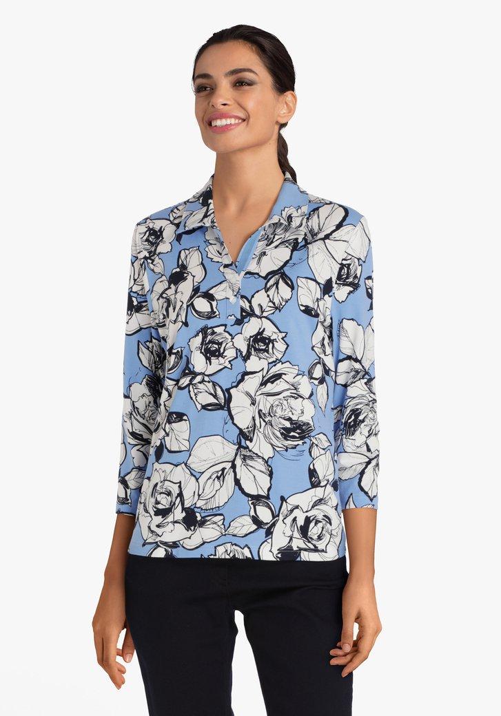Blauwe T-shirt met bloemen