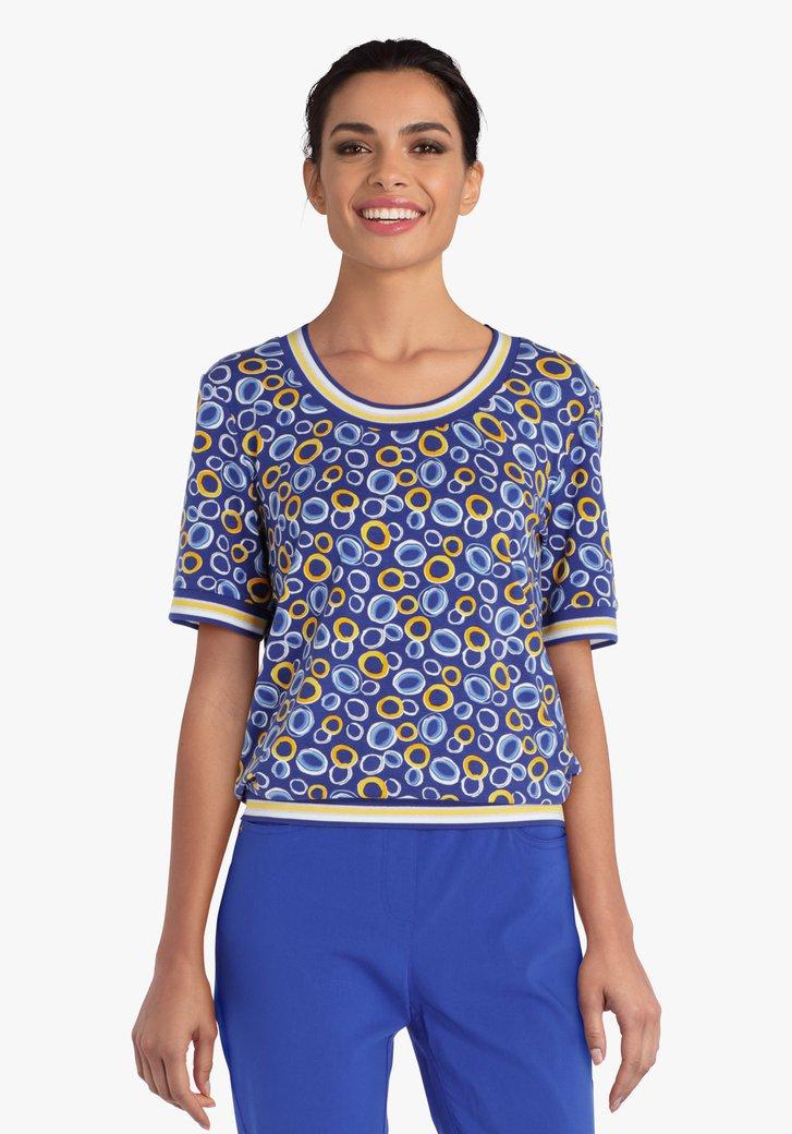 Blauwe T-shirt met geel-blauwe print
