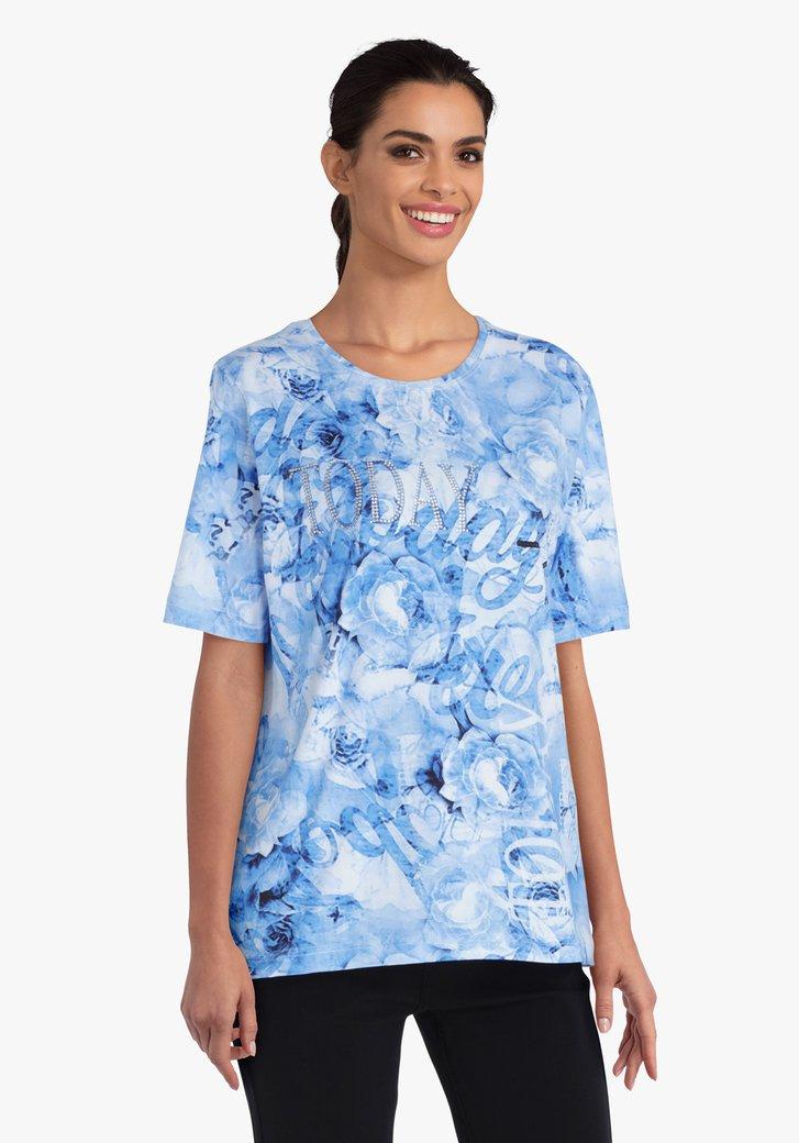 Blauwe T-shirt met kleine diamantjes