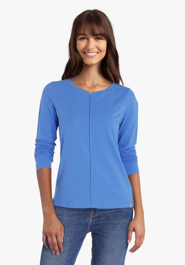 Blauwe T-shirt met lange mouwen