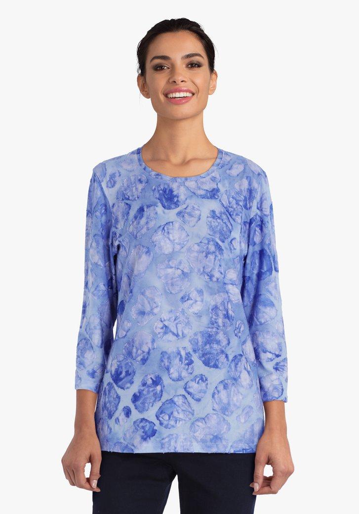 Blauwe T-shirt met opliggende print