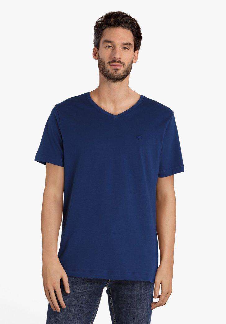 Blauwe T-shirt met V-hals