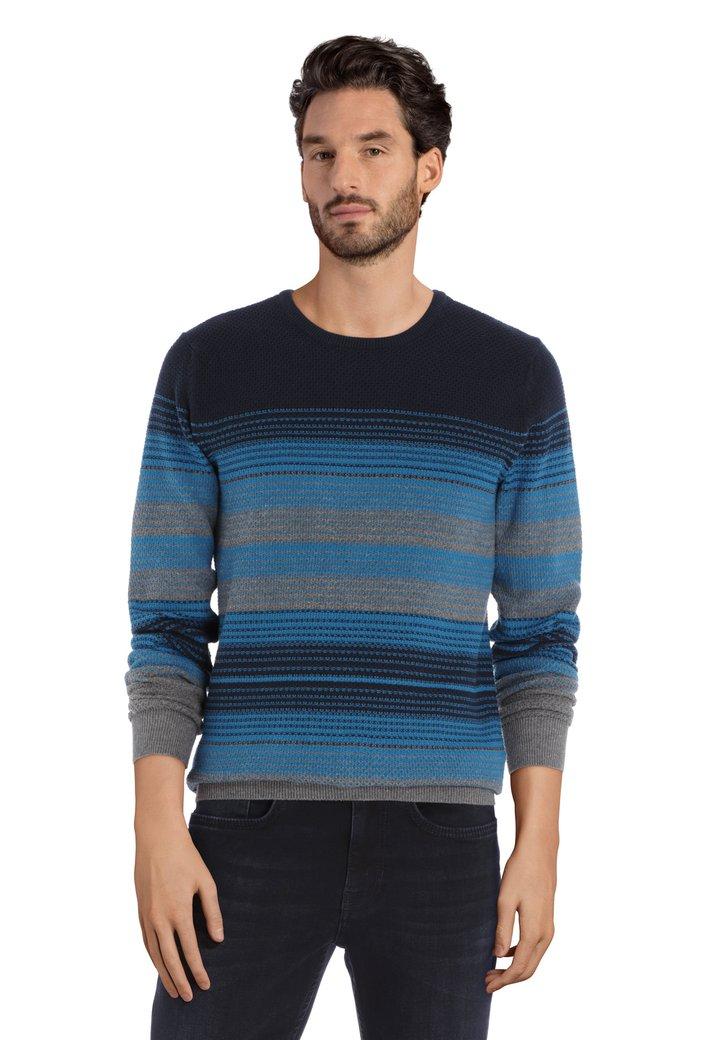 Afbeelding van Blauwe trui in structuurstof met ronde hals