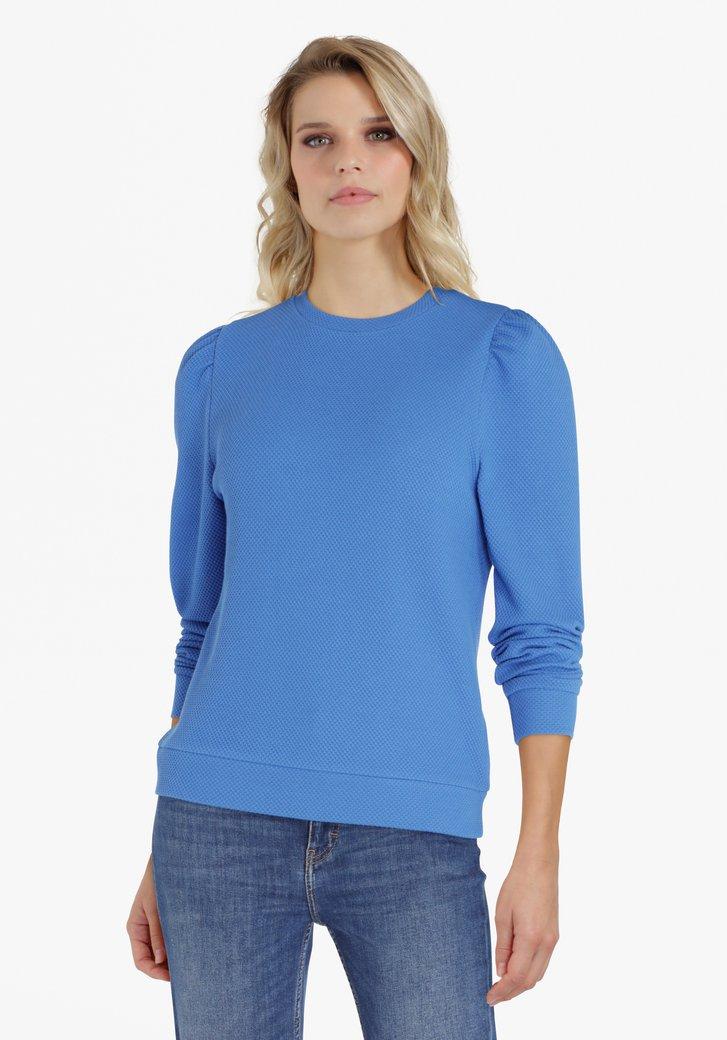 Blauwe trui met accentmouwen